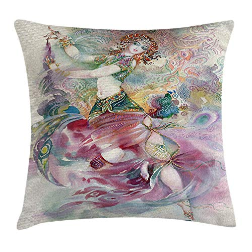 r Pillow case Oriental Dance Theme Young Girl Performing in Traditional Costume Fantasy Figure Throw Pillow Covers 20x20 Inches ()