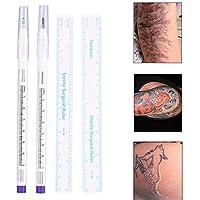 2 Unids / set 2 Tipos de Tatuaje Quirúrgico Piercing Piel Marcador Posicionamiento Body Art Pen Con Reglas(#1)