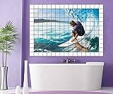 Surfer Fliesenaufkleber 15 10 25 20 cm Fliesenbild Ozean Meer Welle Wasser Brett Fliesen Aufkleber Bad Küche 8A083, Bildformat:120cmx80cm;Fliesengröße:Fliese 15x20cm