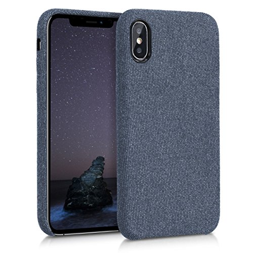 kwmobile Hülle für Apple iPhone X - Case Handy Schutzhülle Stoff - Backcover Cover Canvas Design Dunkelblau