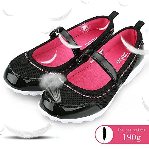 Sibba Damen Ballerinas Schuhe Mary Jane Halbschuhe Mädchen Schwarz