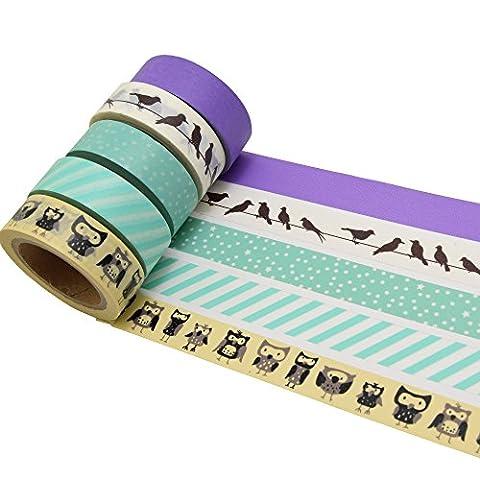 K-LIMIT 5er Set Washi Tape Dekoband Masking Tape Klebeband Scrapbooking Vögel Eulen 9323