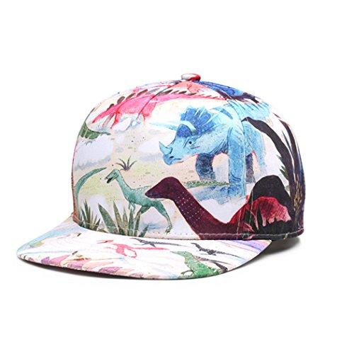 VENIMASEE Unisex 3D Gedruckt Einstellbar Wunderschöne Kühle Hip Hop Baseball Cap Snapback Flatbrim Hüte-Tier - Dinosaurier