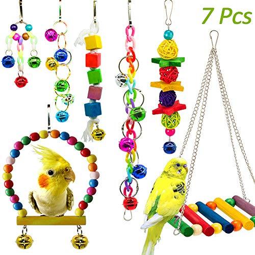 7 Stück Bunten Vogelspielzeug, Vögel Spielzeug Vogel Papagei Schaukel Spielzeug mit Naturholz Hängematte Hängenden Barsch für Sittiche Nymphensittiche, sittichen, Aras, Papageien, Love Birds, Finken