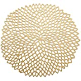 Chilewich Gold Pressed Dahlia Round Placemat by Chilewich