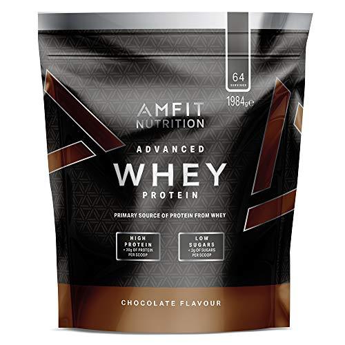Amazon-Marke: Amfit Nutrition Advanced Whey Protein Eiweißpulver mit Schokoladengeschmack, 64 Portionen, 1984 g