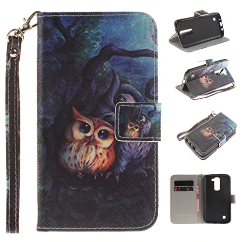 Price comparison product image For LG K8 Case [With Tempered Glass Screen Protector], idatog(TM) Magnetic Flip Book Style Cover Case , High Quality Classic Colorful Cool Pattern Design Premium PU Leather Folding Wallet Case With [Lanyard Strap] and [Credit Card Slots] Stand Function Folio Protective Holder Perfect Fit For LG K8(Owl)