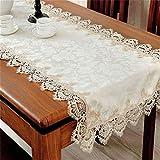 Toporchid Style européen dentelle brodée table-nappe table blanche nappe table basse pour la décoration de fête de mariage de(60 * 120)