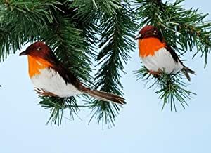 Pack of 2 14cm Robins Table/Cake Christmas Decoration (PM236)