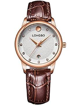 Frauen einfache klassische Armbanduhr Datum Goldgehäuse mit großen Opal brauner Lederband Uhr stieg