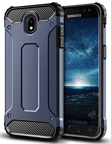 Coolden Samsung Galaxy J3 2017 Hülle, Premium [Armor Serie] Outdoor Stoßfest Schutzhülle Tough Silikon + Hard Bumper Militärstandard Handyhülle für Samsung Galaxy J3 DUOS(Blau)