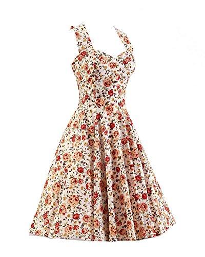 SaiDeng Femmes Mince Fit Floral Impression Millésime Robe Comme Image