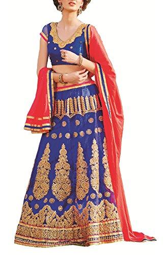 Gajiwal Sarees Women's Net Long Cholis Lehenga Choli (Blue)
