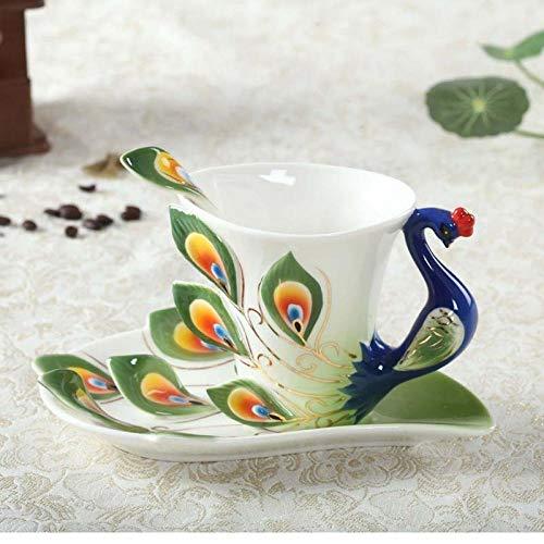 Kaffeetassen Kreatives keramisches Grün des Pfaus Tassen