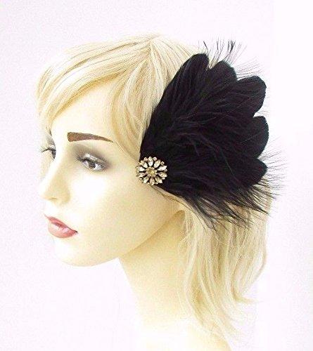 Black Feather Fascinator Headband Headpiece Races 1920s Flapper Great Gatsby A77