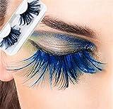 Miya, fantastiche ciglia finte con piuma di colore blu super morbida, decorative, adatte per feste, carnevale, teatro, Halloween