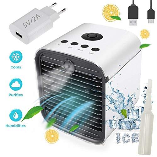Nifogo Climatiseur Mobile Air Mini Cooler - 3 en 1 Rafraichisseur d'air Ventilateur, Portable Climatiseur, Humidificateur Purificateur, Anti-Fuites, New Filtre (P- Adaptateur)