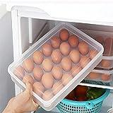 Eier box für 24 Eier,BBTXS Eier-Halter-Kasten Covered Egg Spender Eierhalter Kühlschrank - praktische Eierbox aus Kunststoff – Eierbehälter mit Deckel für 24 Eier – Transparent