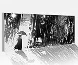 Acrylglasbild 100x40cm schwarz weiss abstrakte Kunst Regen Frau Regenschirm Acrylbild Glasbild Acrylglas Acrylglasbilder 14A1819, Acrylglas Größe1:100cmx40cm