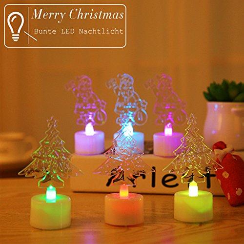 Shsyue® 7 Farben Wechselnd Blinken Mini LED Nachtlicht Home Party Tischdekoration Weihnachten Geschenk Christbaum Weihnachtsmann(Zufällig) (3pcs) (Home Tischdekoration)