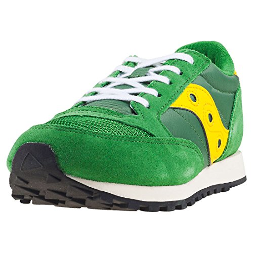Sneaker Saucony Saucony Youth Jazz Original Vintage A17000-4 Green Yellow Leather Trainers 36 EU