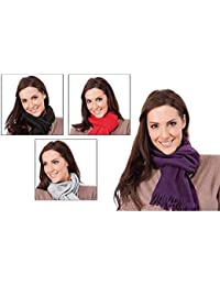 Ladies Fleecy Scarf with Tassel Ends (One Size( 60x10inches ) GREY