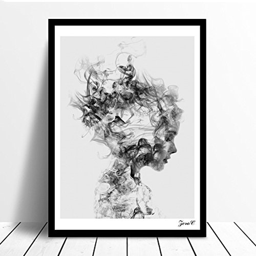 Nighteyes66 modern home decor wall murals black and white girl poster canvas painting office bedroom living room decor no frame