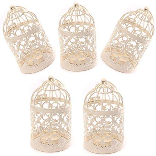 J Robin Teelicht Laternen Kerzenhalter Metall Kreative Geschnitzte Vogelkäfig Eisen Hängend Kerzenhalter Hochzeit Zu Hause Tischdekoration (Packung mit 5 Stück)