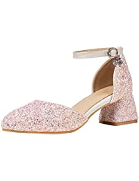 80859cdc93e348 AIYOUMEI Damen Glitzer Pumps mit 5cm Absatz Chunky Heel Knöchelriemchen  Blockabsatz Schuhe