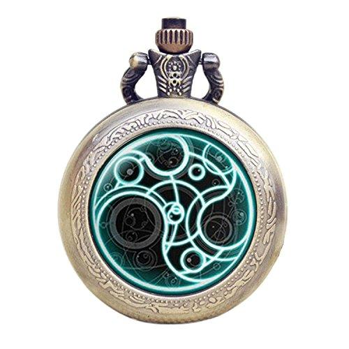Dr Who leuchtend blau Gallifrey Timelord Dichtung Bronze Effekt Retro/Vintage Fall Full Hunter Herren/Jungen Quarz Taschenuhr Halskette-auf 81,3cm Zoll/80cm Kette (Who Valentines Geschenke Dr)