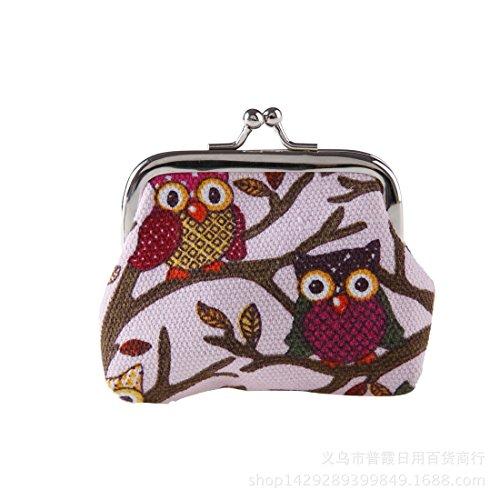 Swallowuk Damen Retro Damen Börse Geldbörse Leinwand Geldbeutel Hasp Brieftasche Handtasche (rosa)