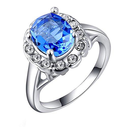 joyliveCY 2018Fashion Hochzeit Finger Ring Schmuck Frau Classic 'Fancy Lady 's Platinum Blue Diamond Ring UK Größe O -