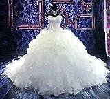 G-W Robe de Mariée Robe de Demoiselle d'honneur Robe Double Crochet Dentelle Top Dentelle Appliques Dentelle Robe de Princesse Dentelle Robe de Princesse Pur Blanc, Blanc Pur, US:8 (XL)