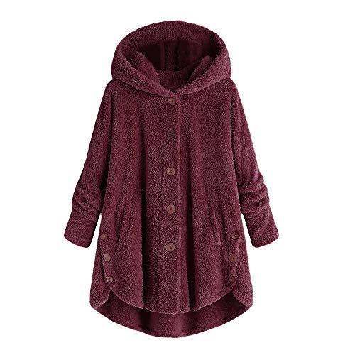 Winter Bequem Mantel Lässig Mode Jacke Mode Frauen Knopf Mantel Flauschige Schwanz Tops Mit Kapuze Lose(Wein, 3XL) ()