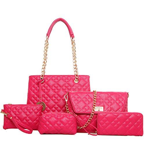 Frauen-PU-Leder-Handtaschen-neue Fünfteilige Sätze Gesteppte Ketten-Beutel-Art- Und Weiseschulter-Kurier-Beutel-Mutter-Paket Red