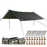 Anyoo 4 × 4M Camping Abri en bche, tente légère Hamac imperméable à l'épreuve de la pluie Durable Portable compacte comprenant des poteaux et des piquets tout usage pour le pique-nique de plage de pêche de camping