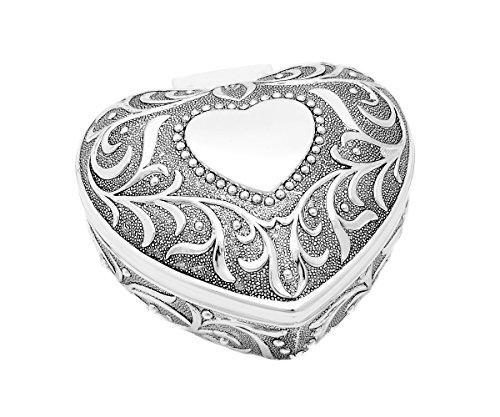 Schmuckkästchen Schatulle Etui Schmuckschatulle Ring Kette Schmuck Herz Silber + Brillibrum Flyer Geschenke Geschenkidee (Schatulle groß - mit Gravur bis 20 Zeichen) (Großes Herz-ring)
