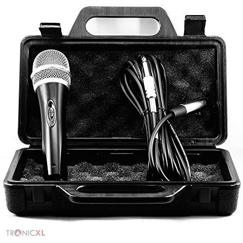 TronicXL Mikrofon Set dynamisch mit Koffer 5 Meter langes Kabel Klinke Stecker 6,35mm Universal Handmikrofon Microphone Singen Moderation Bühne Karaoke Hochzeit Gesang Gesangsmikrofon kabelgebunden (Dynamisches Mikrofon Mit Kabel)