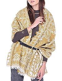 53d525e5cda9 Femme Écharpe Style Rétro Châle à Fleurs Cape Casual avec Frange Grande  Plaid Glands Foulard Longue
