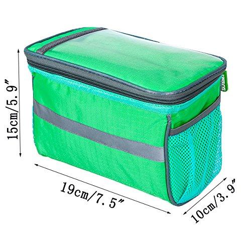 Da Jia Inc Wasserabweisende Universal Radfahren Bike Fahrrad Frontlenker Bar Sack Korb Taschen Fahrradtasche und Handyhalterung mit durchsichtigem PVC-Fenster für Tablet oder Handy Grün