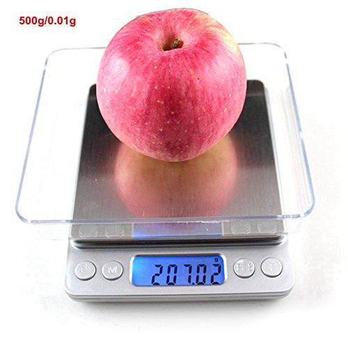 Dongjinrui Schmuck Waage 3000G/0,1G 500GX 0,01 G Elektronische Küchenwaage Gewicht Balance hohe Genauigkeit Schmuck Waagen Essen Diät Waage mit 2 Streuner, China, 500GX 0,01 G - Essen-gewicht-digital-skala