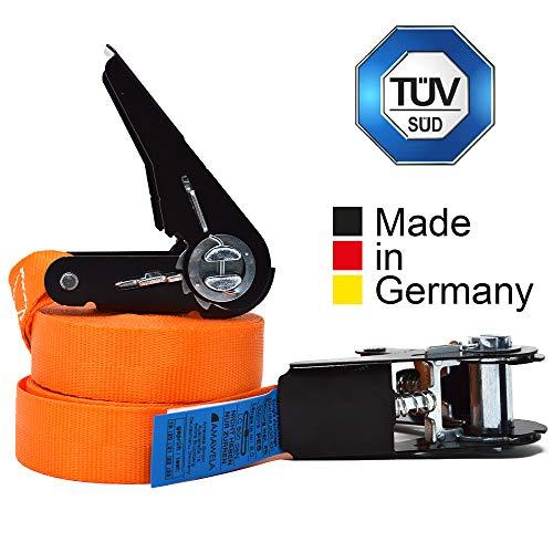 2er Set KFI-Ziegler TÜV-geprüfte Spanngurte mit Ratsche | Länge: 4 m | Ratschengurt einteilig nach EN 12195-2 | Zurrgurte 400/800 kg