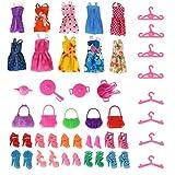 Meiqils (42pcs) 10pcs mini juguetes lindos + 10pcs zapatos + 5pcs bolsas + 8pcs perchas + accesorios del hogar para la muñeca