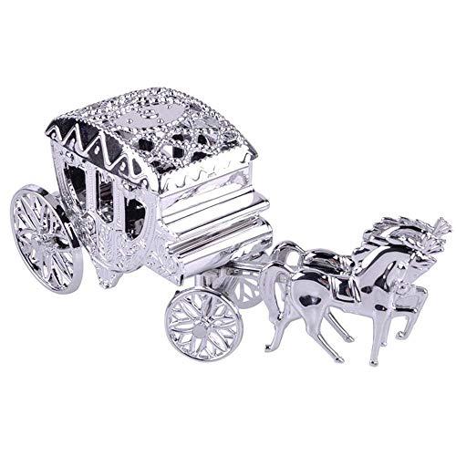 13,5x3,5x5 cm Romantische Royal Carriage Box Cinderella Carriage Hochzeitsfest Begünstigt Geschenke Paket Box Pralinenschachtel Kunststoffbox für Baby Shower Birthday Party Dekoration (Silber, 5pcs)