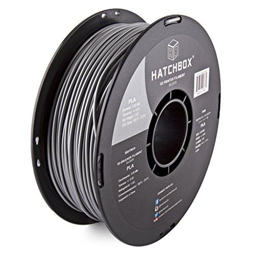 Black HATCHBOX PLA 3D Printer Filament 1 kg Spool 3.00 mm Dimensional Accuracy +//- 0.03 mm