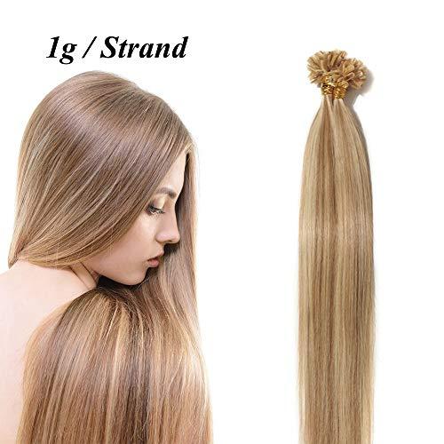 Extension capelli veri cheratina 1 grammo biondi meches 50 ciocche 45cm 100% remy human hair lisci u tip #12p613 marrone oro mix biondo chiaro