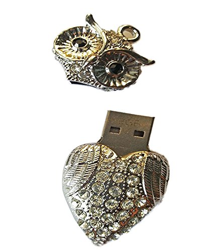 niceeshop(TM) Silbrig 8GB Eule Form Kristall USB Flash Speicher Drive mit Einer Kette