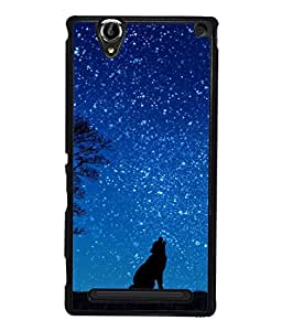 Snapdilla Designer Back Case Cover for Sony Xperia T2 Ultra :: Sony Xperia T2 Ultra Dual SIM D5322 :: Sony Xperia T2 Ultra XM50h (Night Nature Blue Clouds Forest Space)