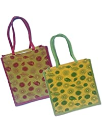 Maheshwari Reusable Shopper Bag, Pack Of 2 Jute Bags For Lunch
