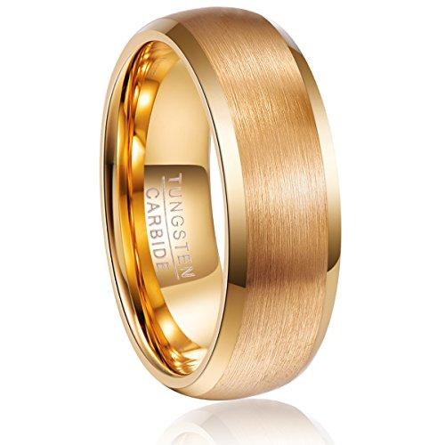 Ring 8mm gold Herren/Damen, Wolfram Ring XL Hochzeit, Verlobung, Partnerschaft, Freundschaft,...